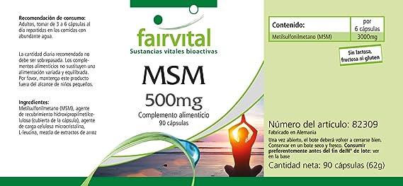 MSM cápsulas 500mg - VEGANO - Altamente dosificado - 90 ...