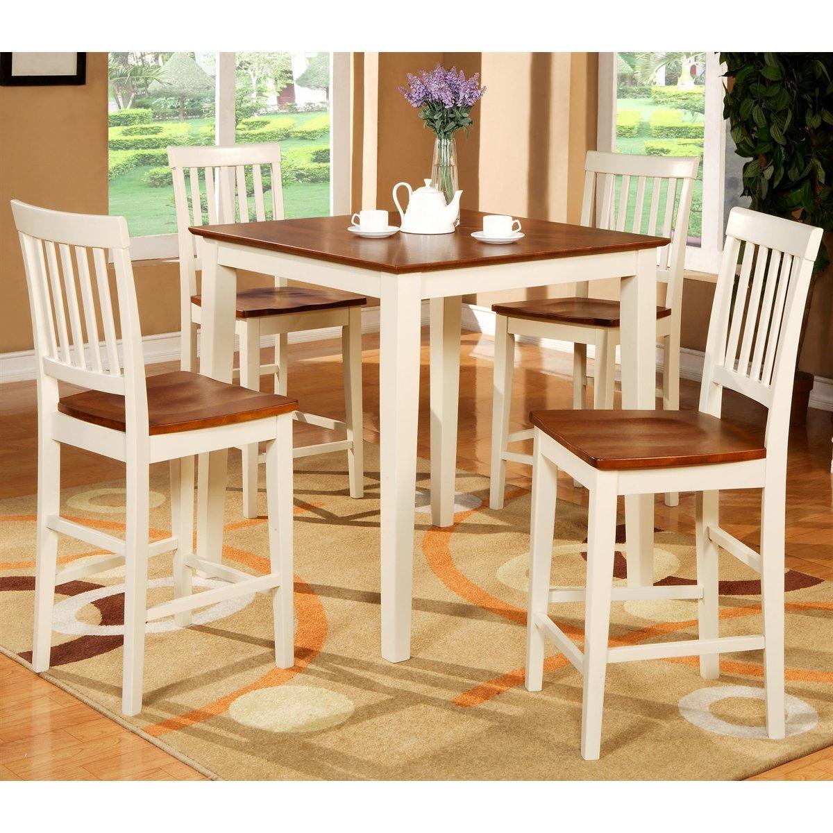 5PC Square Pub Counter Height Table Set 4 Stools White