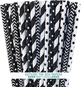 Paper Straws - Black and White - Stripe Chevron and Polka Dot - 7.75 Inches - 100 Pack