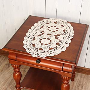 Vanyear Crochet Doily Tablecloths Crochet Square Table Cover Lace Table Covering Doilies for Furniture Décor 11.8inch by 19.6inch Oval Table Doilies