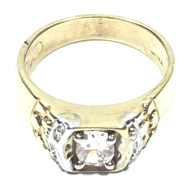 UNITEDEAL New 10K Yellow Gold 18 MM Wide CZ Gemstone Luxury Hip HOP Style Ring 7335