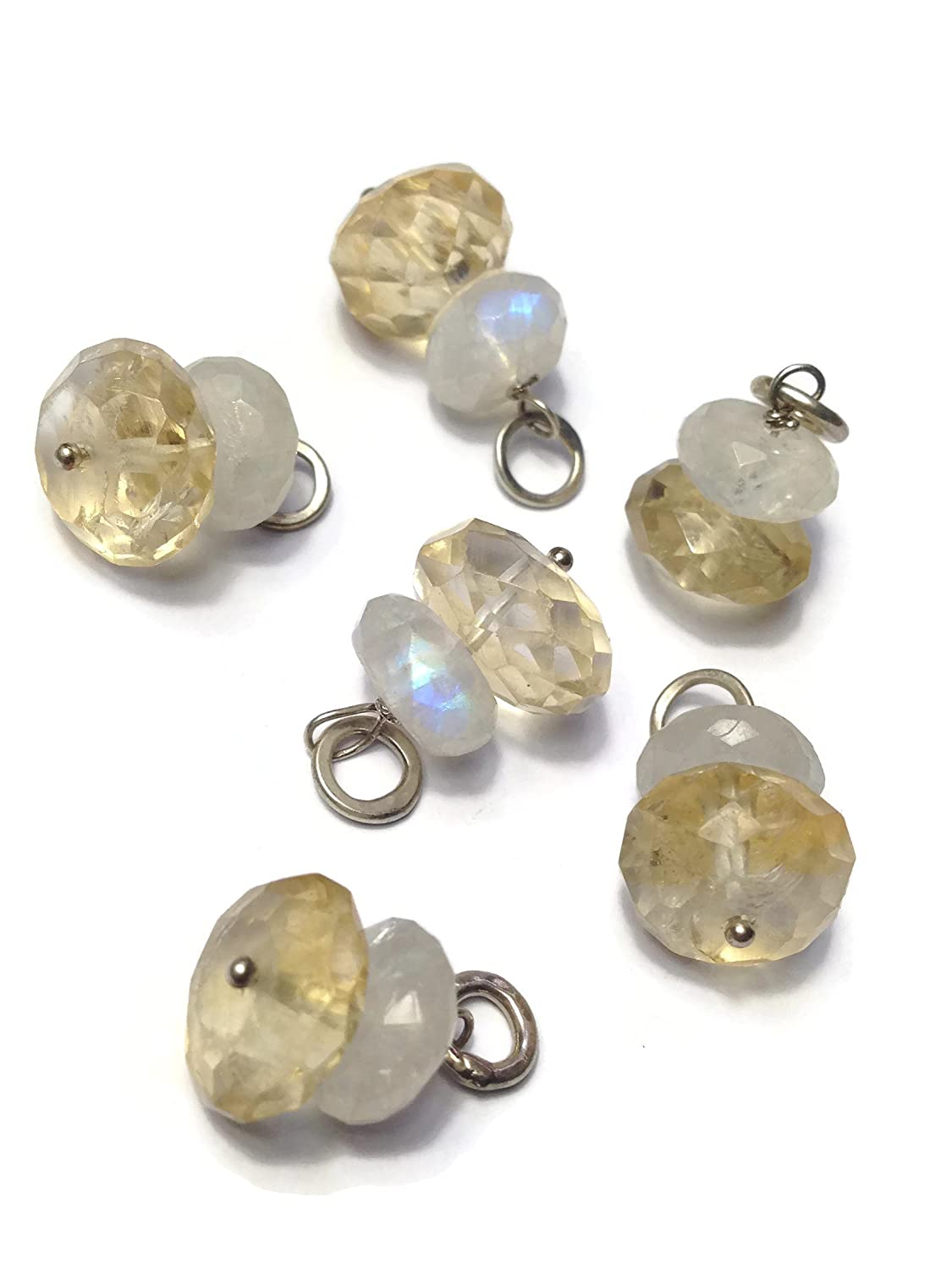 Faceted Moonstone Citrine and Sterling Silver Add A Dangle Charm Round Jump Ring