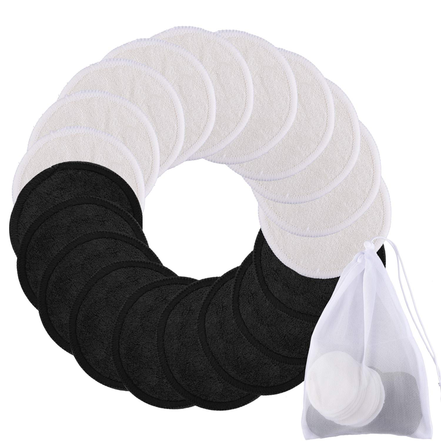 SIQUK 20 Pieces Reusable Cotton Rounds Makeup Remover Pads 2 Layers Washable Organic Bamboo Facial Cleansing Pads with Laundry Bag, Black and White