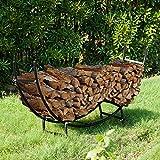 Earth Worth 83-DT5204 Firewood Curved Log Rack | 5 ft | Black
