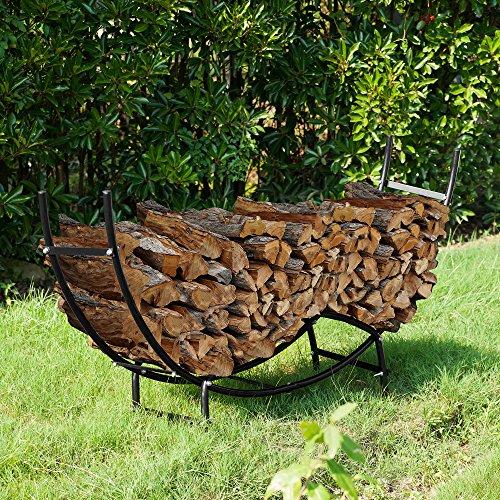 Earth Worth | Firewood Curved Log Rack | 5 FT | Black