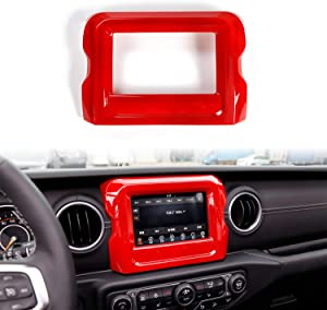 "RT-TCZ 7"" Red ABS Dashboard GPS Navigation Panel Frame Cover for 2018-2020 Jeep Wrangler JL JLU"