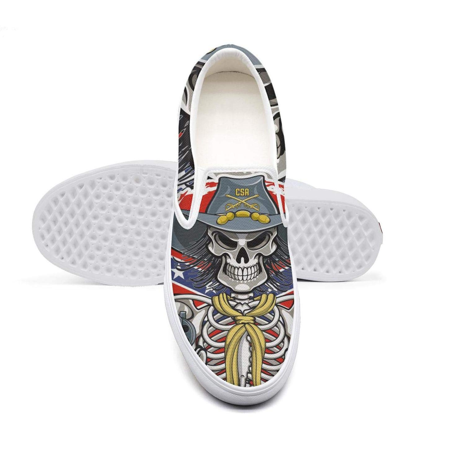 KJGDFS America USA Flag Painted Skull Walking Shoes Low top Slip-on for boy