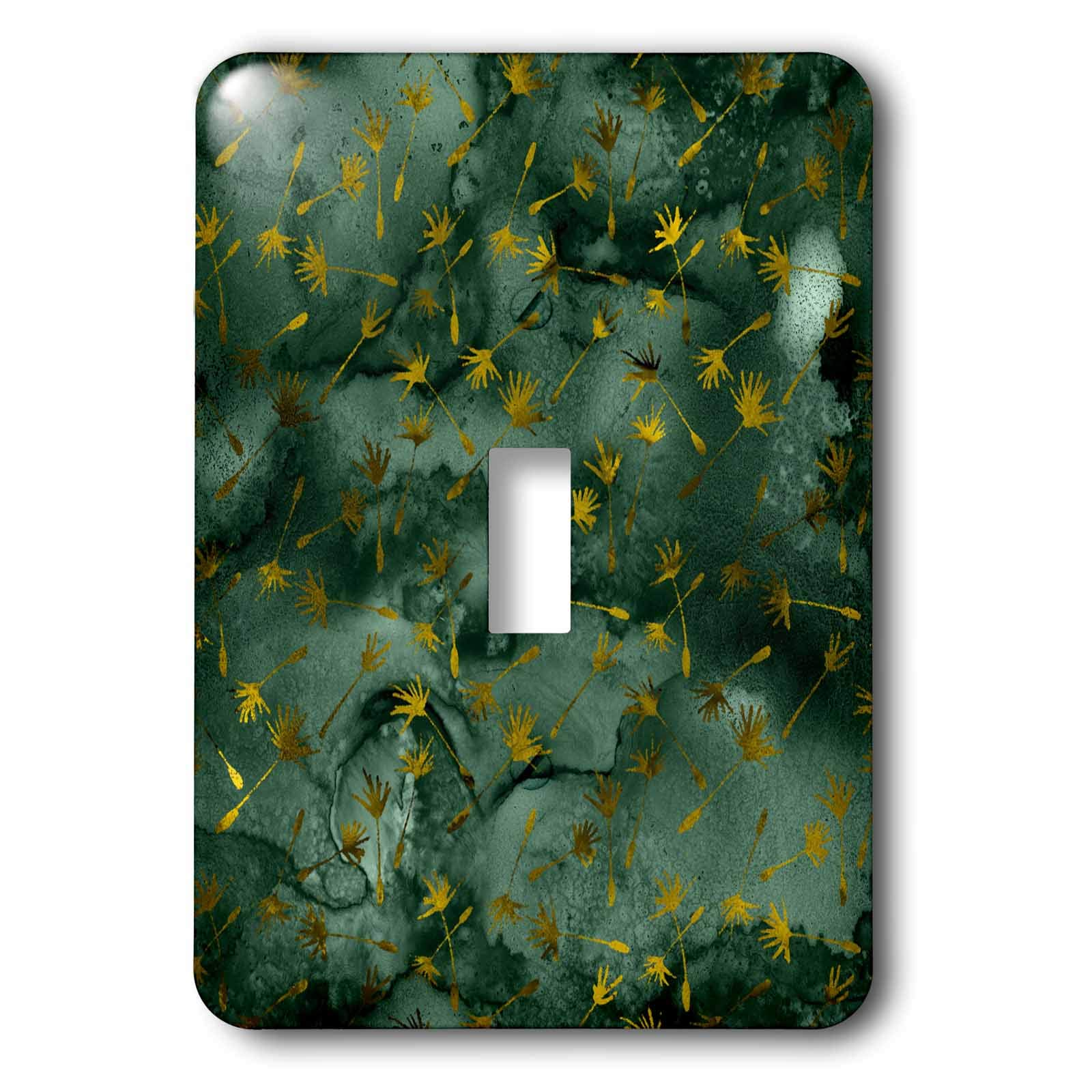 3dRose Anne Marie Baugh - Patterns - Pretty Gold Color Dandelion Flowers On Green Image Of Watercolor - Light Switch Covers - single toggle switch (lsp_295519_1)