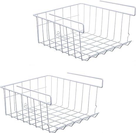 Under Shelf Storage Basket, 2-Pack (White)