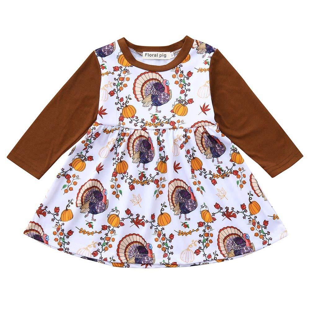 ZODOF Linda Falda para niños Bebés bebés de Manga Larga de acción de Gracias Conjunto de Vestido de impresión de Calabazas Set