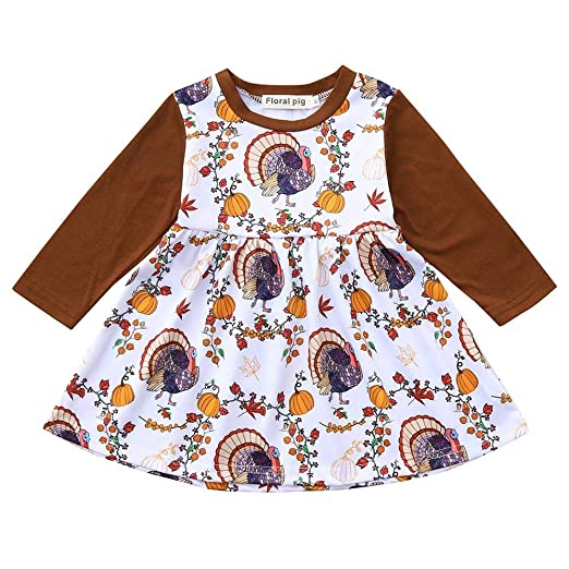 ced0410a8203 Lavany Baby Girls Dress Thanksgiving Day Pumpkin Print Clothes Long Sleeve  Dresses (0-6