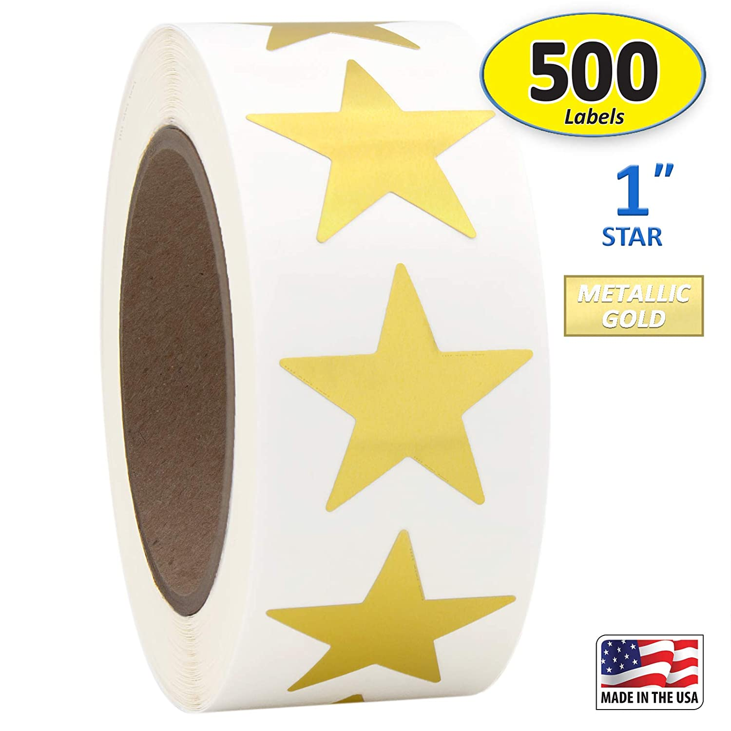 "1"" Gold Metallic Star Shape Foil Sticker Labels, 500 Labels per Roll, 1 Roll, 1 Inch Diameter"