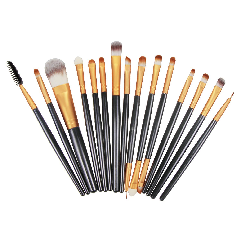 AOOK 15 Pieces Animal Makeup Brush Set Professional Face Eye Shadow Eyeliner Foundation Blush Lip Makeup Brushes Powder Liquid Cream Cosmetics Blending Brush (White 15pc)