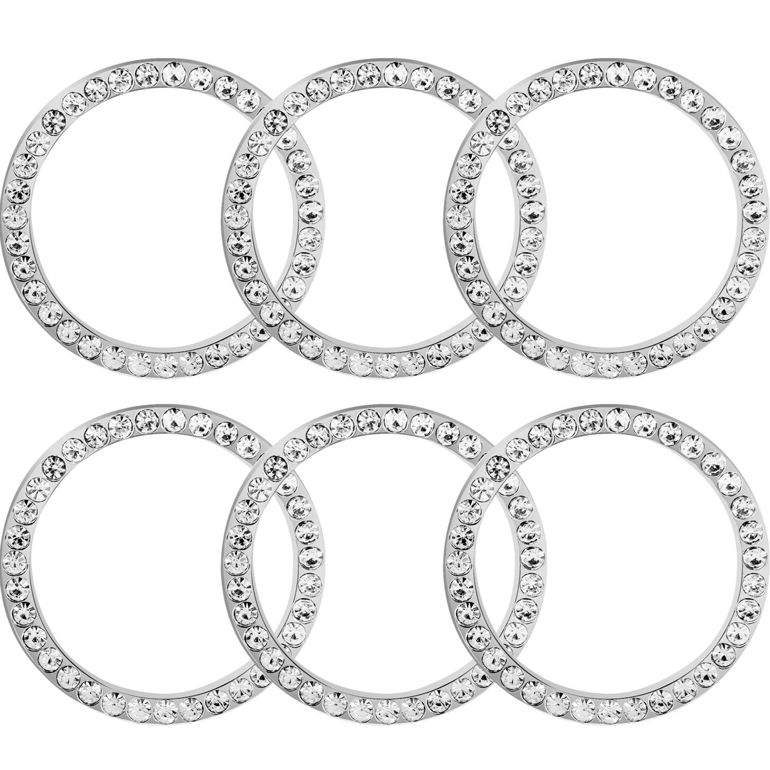 Silver TOODOO 6 Pieces Crystal Rhinestone Car Bling Decorations Ring Emblem Sticker Decor Car Engine Start Stop Accessories for Men and Women