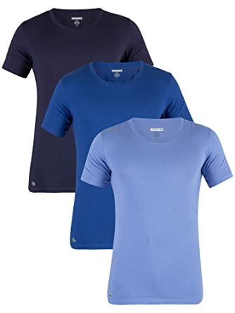 08df037cc0ed Lacoste Essentials - Pack of 3 Round Neck T-Shirt - Navy Blue  Amazon.co.uk   Clothing