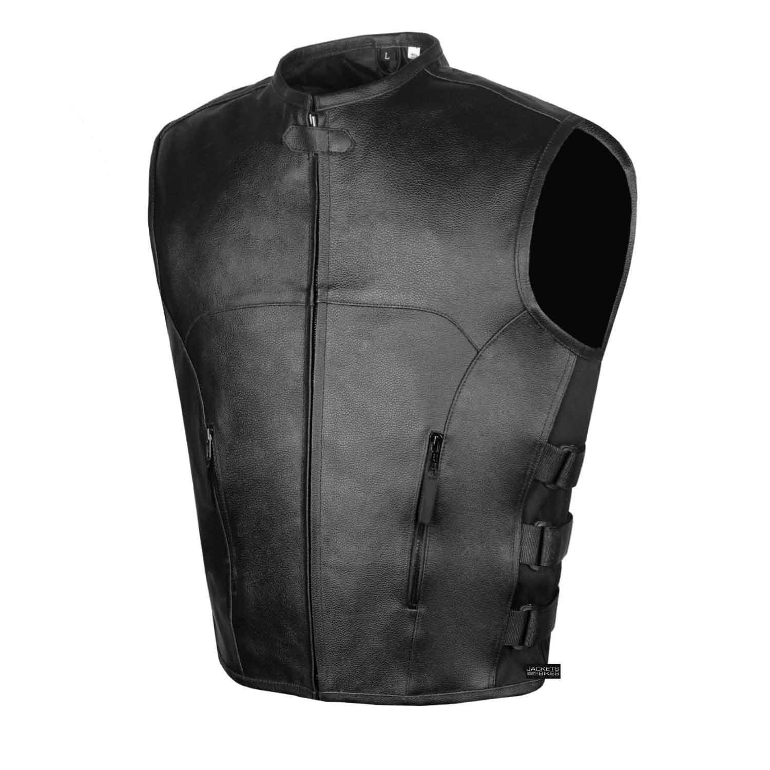Men's Biker Swat Style Armor Motorcycle Leather Vest Conceal Carry Pockets XXL