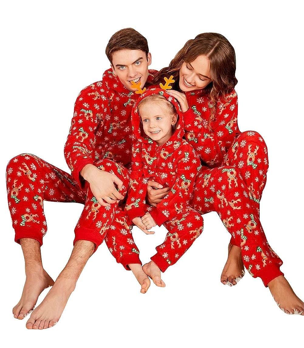 Aibayleef Pijamas Familiares de Navidad Parejas e Hijos Trajes Navideños Pelele con Cremallera e Capucha Conjunto Padre y Madre y Bebé Sudadera Rayas Manga Larga + Pantalones