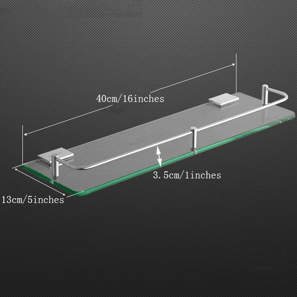 YXN Space Aluminum Bathroom Shelf Glass Shelf Bathroom Square Single Layer Metal Pendant Corner Dresser (Size : 40cm)