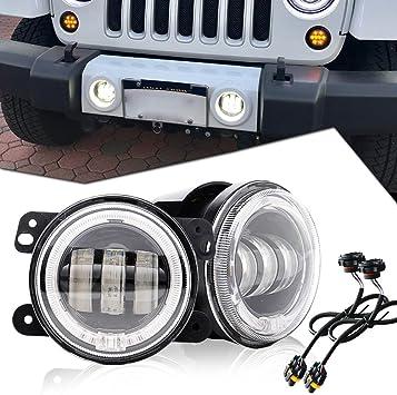 """4/"""" INCH Front Bumper White Halo LED Fog Lights For 2007-2017 Jeep Wrangler JK"""