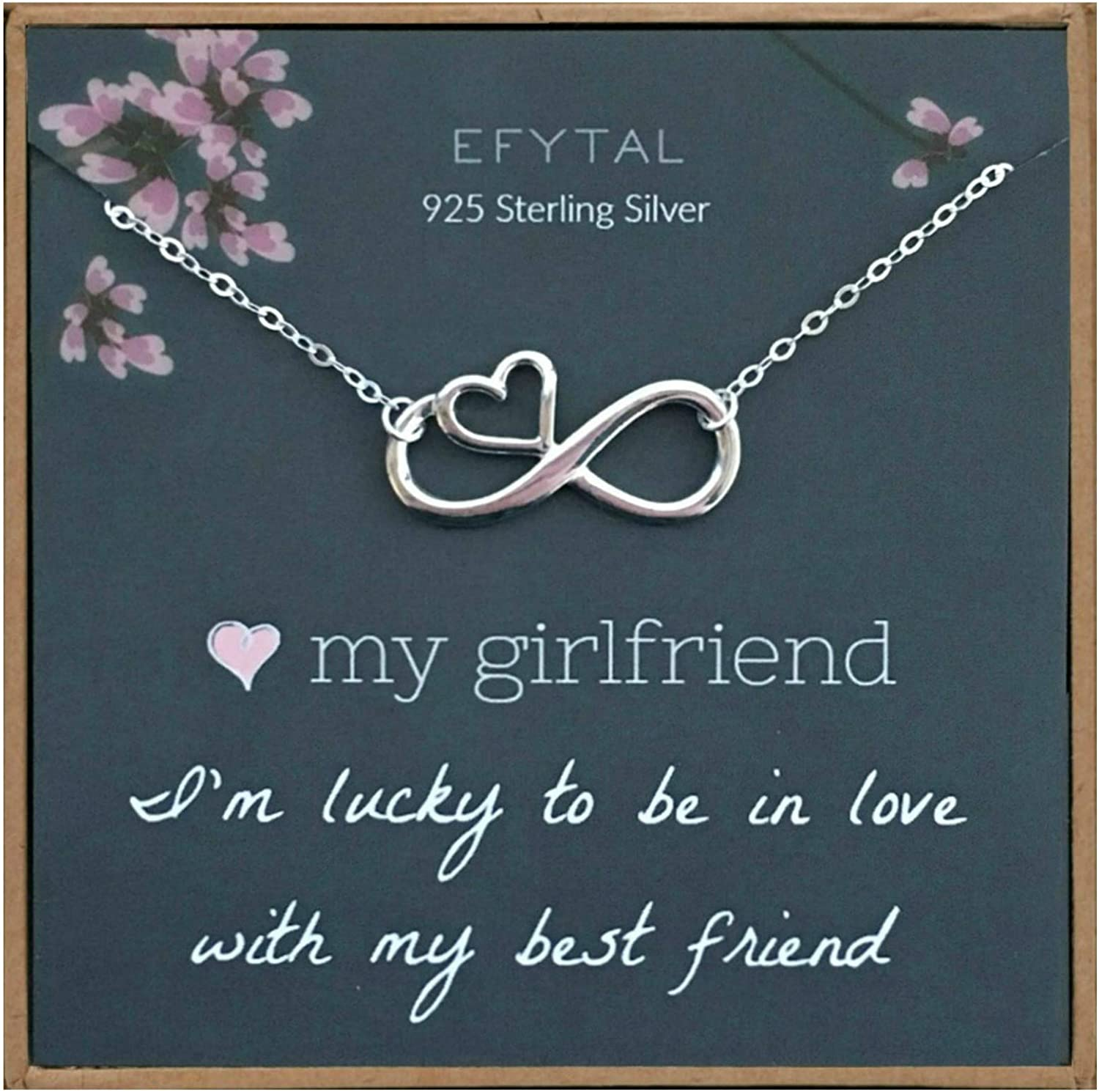 Amazon Com Efytal Girlfriend Gifts Girlfriend Birthday Gift Ideas For Her Romantic Sterling Silver Infinity With Heart Necklace Jewelry For Women Cute Anniversary Valentines Day Present Clothing