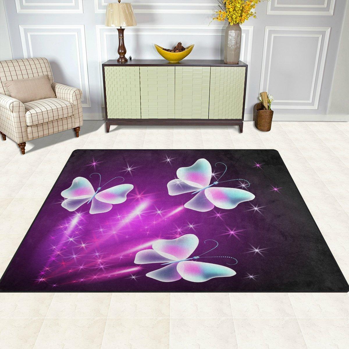 FFY GO Area Rug, Butterfly Star Mystical Purple Pink Print Carpet Designer Super Soft Polyester Large Non-Slip Modern Bath Mats for Bedroom Living Room Hall Dinner Table Home Decor 48 x 63 inch