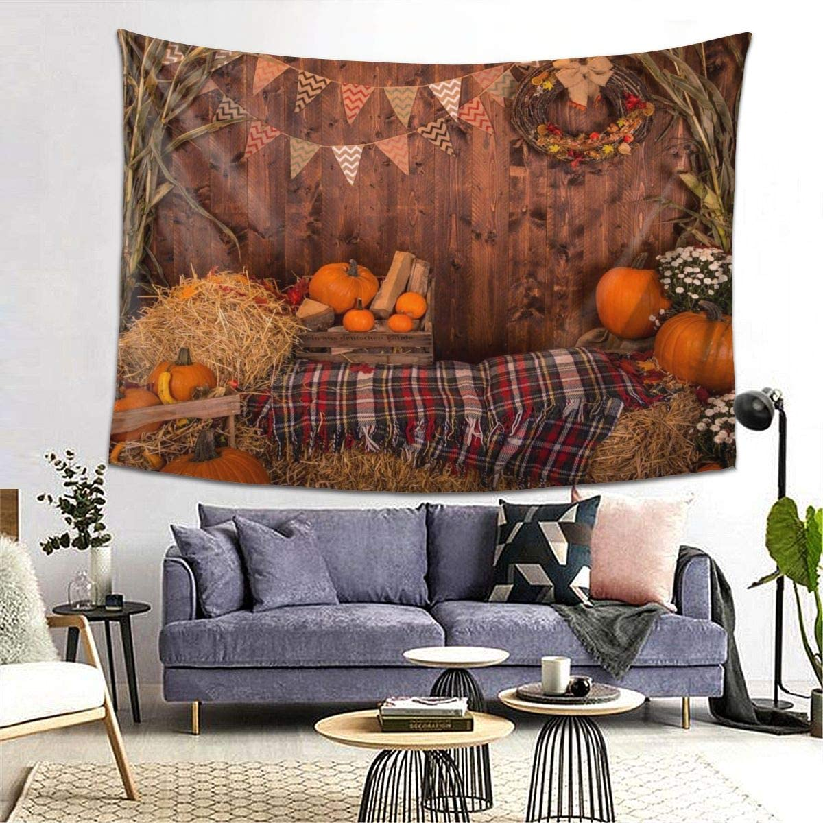 Fall Thanksgiving Tapestry Rustic Wooden Barn Autumn Pumpkins Maple Leaves Sunflower Wall Hanging Tapestries Hippie Psychedelic Art Decor for Home Living Room Bedroom Dorm (80