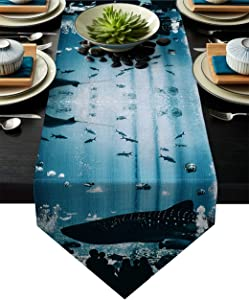 Meet 1998 Cotton Linen Table Runners Aquarium Shark Silhouette Tablecovers for Kitchen Garden Blue Black Wedding Parties Dinner Indoor Outdoors Home Decorations 13x70 inches