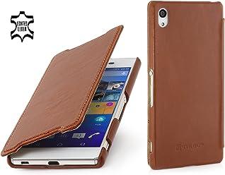 StilGut Book Type Case Senza Clip, Custodia in Vera Pelle a Libro per Sony Xperia Z3+, Cognac