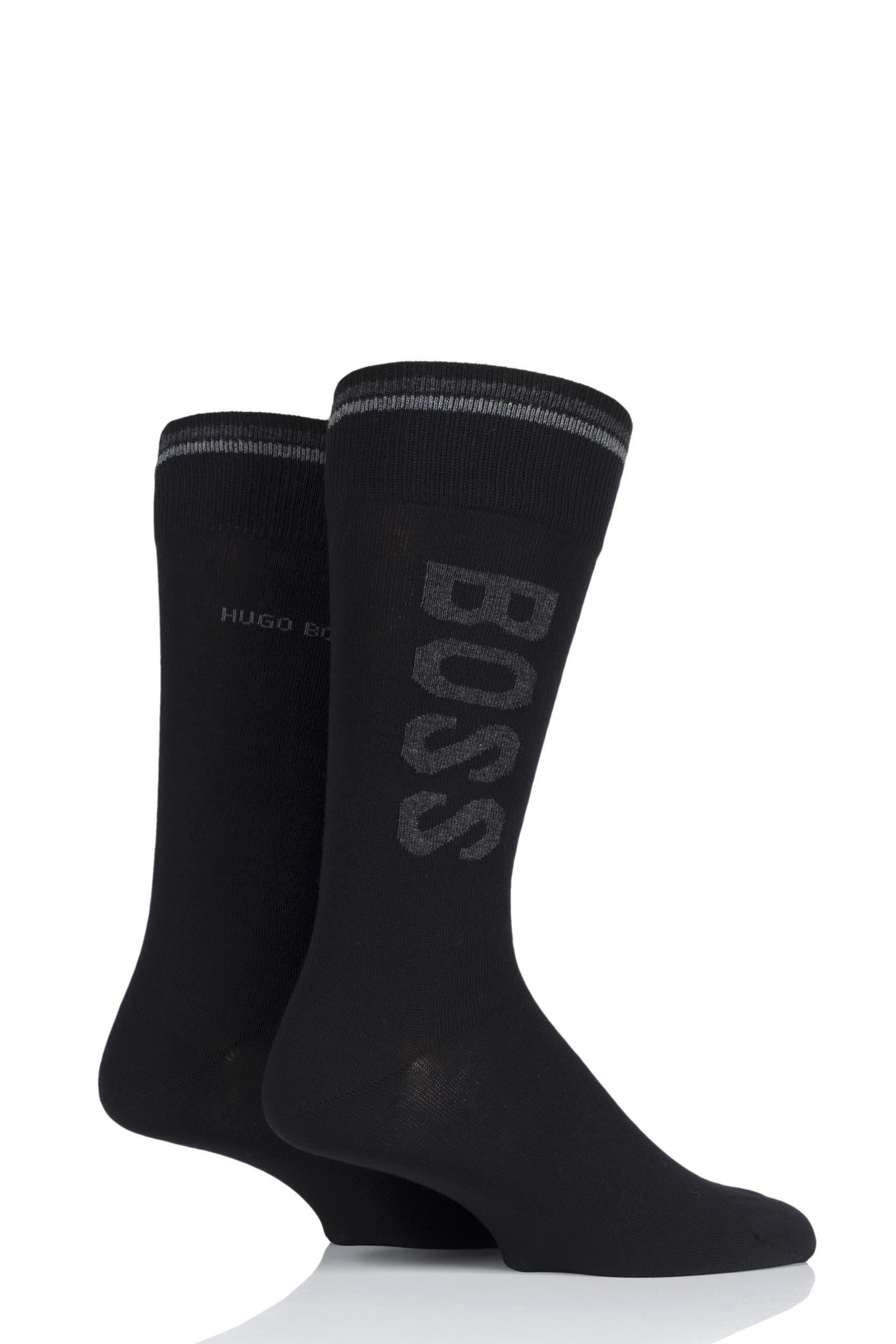 Hugo Boss Mens 50392491 Combed Cotton Boss Logo Socks Pack of 2 Black 9-11.5