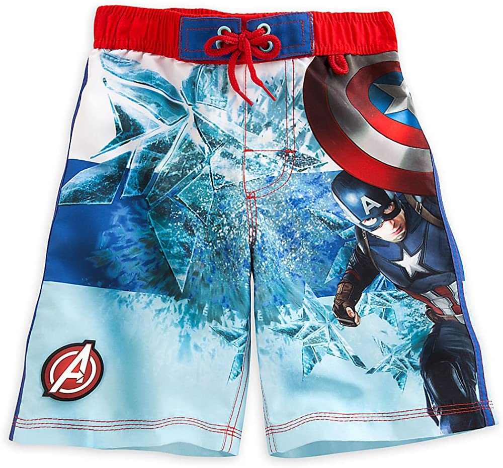 Disney Store Boys Captain America Civil War Star Man Swim Trunks Blue