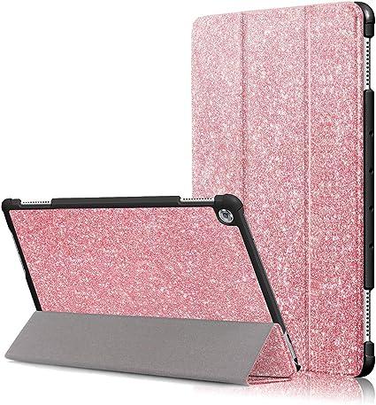FANSONG Custodia per Huawei MediaPad M5 Lite 10 Cover Magnetico Trifold Glitter Sottile PU Pelle con Auto Sveglia/Sonno Protettiva Cover per Huawei ...