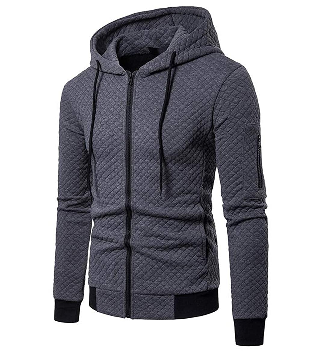 JXG Men Premium Long Sleeve Zipper Front Hooded Cardigan Jacket