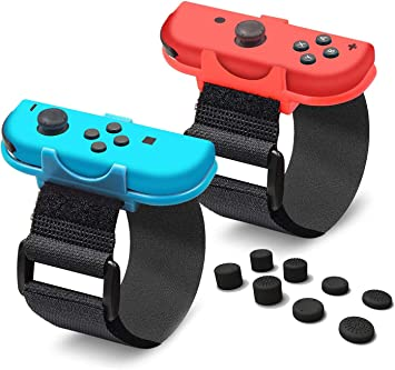 YICHUMY 2 Paquetes de Correas de muñeca Ajustables para Nintendo Switch Joy con Controlador Just Dance 2019 / Switch Kinetic Game – Azul y Rojo con 8 Palillos de Pulgar: Amazon.es: Electrónica
