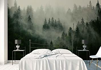 Vlies Fototapete Fotomural Wandbild Tapete Wald Nebel Natur