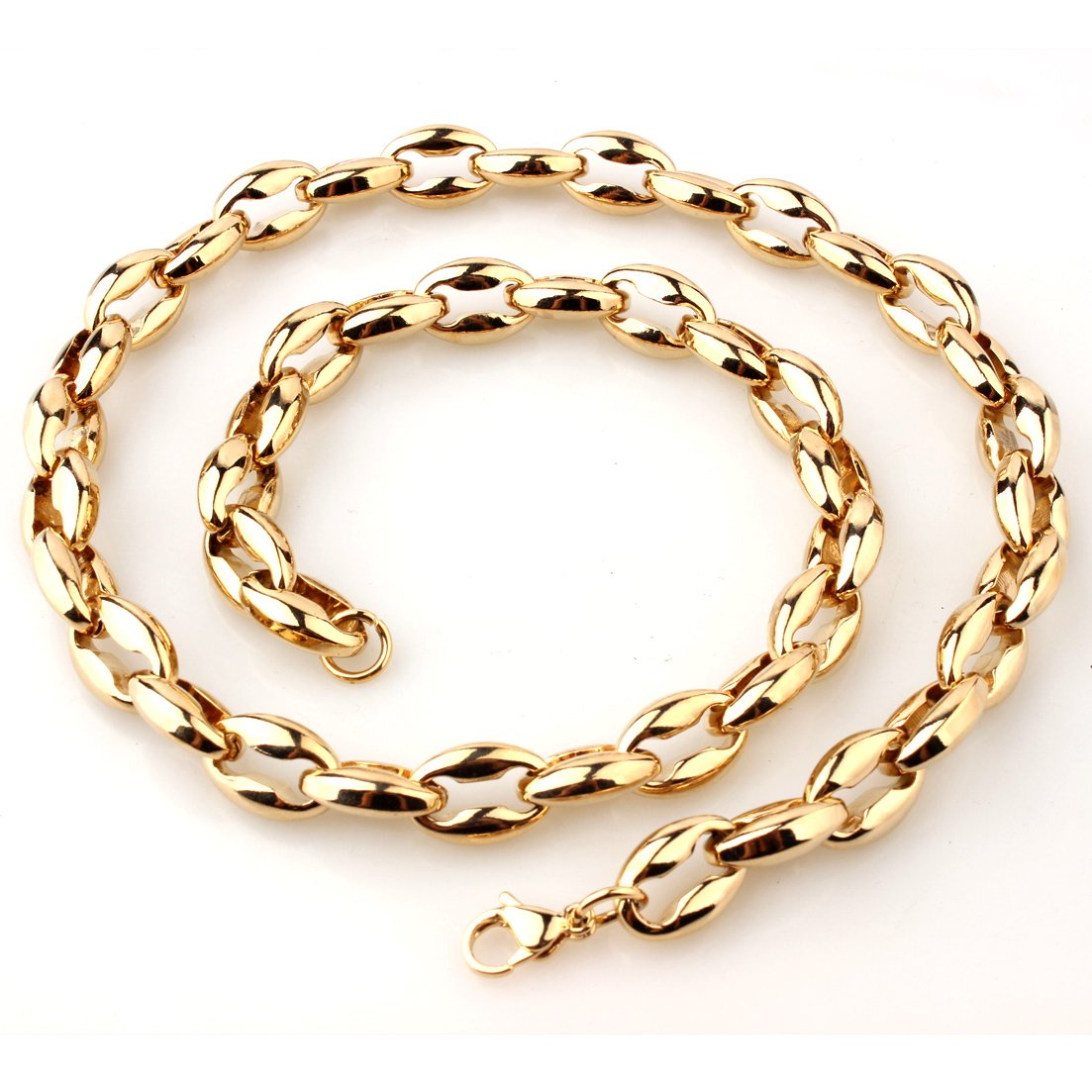 Silver//Gold Tone 12mm Women Mens Stainless Steel Coffee Bean Chain Link Necklace 7-40