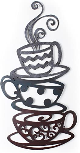 Adeco Decorative Iron Wall Hanging Accents, Three Stacked Coffee Tea Cups Decor Widget – 23.7×12.2 Inches