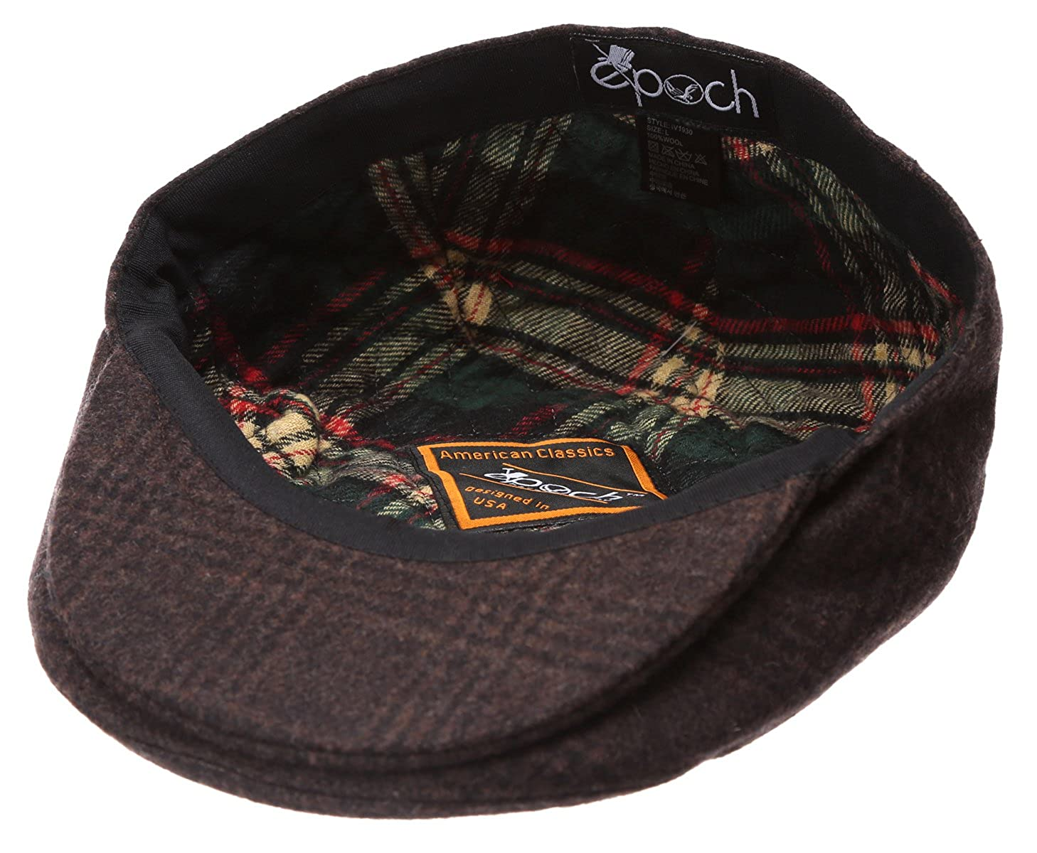 6687901f Epoch Men's Winter Collection Wool Plaid Flat Newsboy Ivy Hat with Socks.  at Amazon Men's Clothing store: