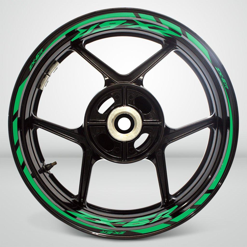 Gloss Light Green Motorcycle Rim Wheel Decal Accessory Sticker For Kawasaki ZX6R