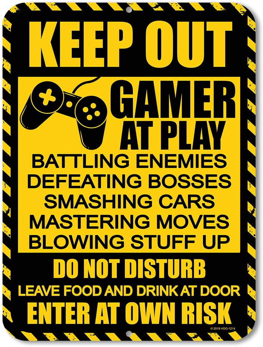 Honey Dew Gifts Gamer Decor, Keep Out Gamer at Play 9 inch by 12 inch Metal Aluminum Funny Novelty Signs, Made in USA
