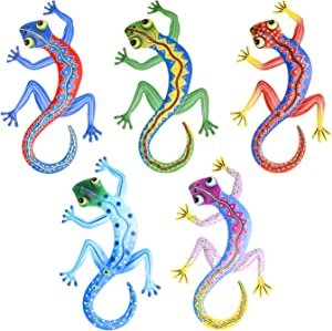 MIXUN Metal Gecko Wall Decor, Lizard Art Wall DecorationSculpture Hang Outdoor Garden for Home, Bedroom, Living Room, Office, Garden