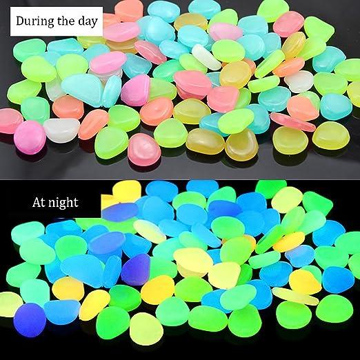 RETON 500 Piedras Man-Made Glow Piedras Luminosas Decorativas para Jardín Pasillo Yarda & Pecera Decoración Piedras (Color Mezclado): Amazon.es: Jardín