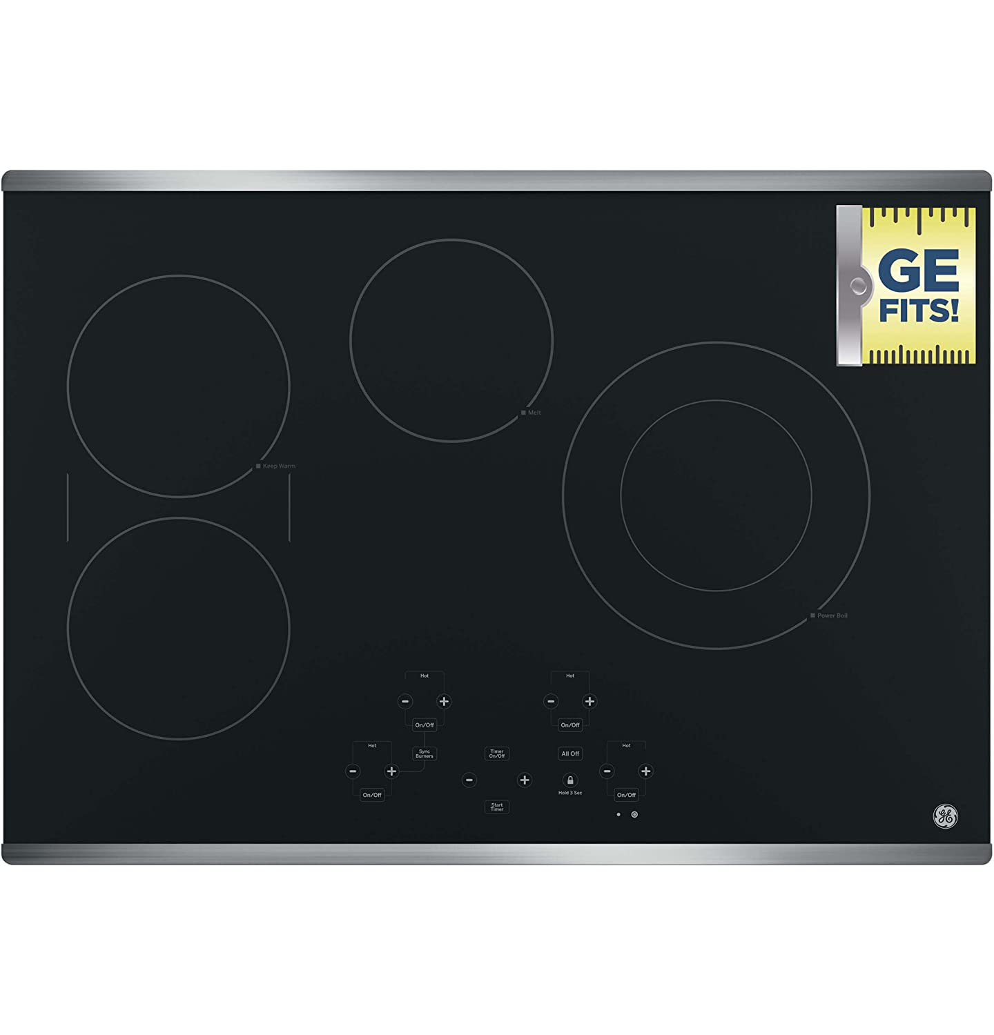 ADA Compliant Fits Guarantee 4 Radiant Elements Keep Warm Built-in Timer Digital Touch Controls GE JP5030SJSS 30 Inch Smoothtop Electric Cooktop with SyncBurner Melt Setting