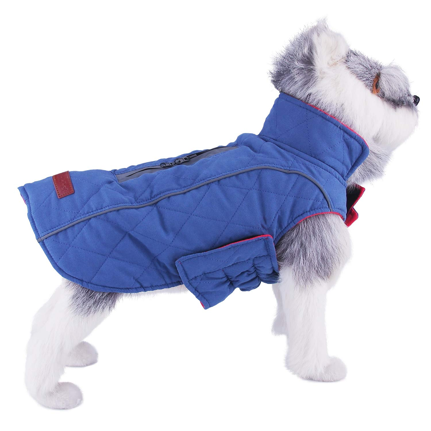 bluee XL(Neck  20.7\ bluee XL(Neck  20.7\ ThinkPet Outdoor Cotton Winter Dog Jacket Reversible Reflective Padded Warm Coat with Harness Hold