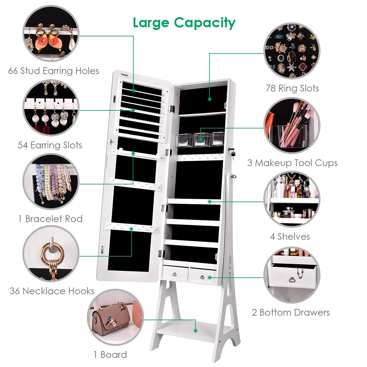 TomCare Jewelry Organizer Jewelry Cabinet Free Standing Jewelry Armoire Lockable Tilt Angle Adjustable Jewelry Box withFull Length Mirror & 2 Drawers Earring OrganizerJewelry Storage Holder, White by TomCare (Image #4)