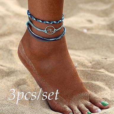 Myhouse 3 Pcs//Set Vintage Wax Rope Turtle Anklet Beach Bracelet Foot Chain For Women