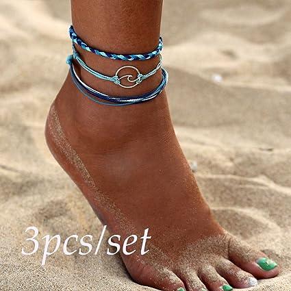 46eadec2 Bazhahei Pulsera Metal Wave Wave Opening Hand-Woven Bracelet Anklet 3 Unids  Bohemia Ola de