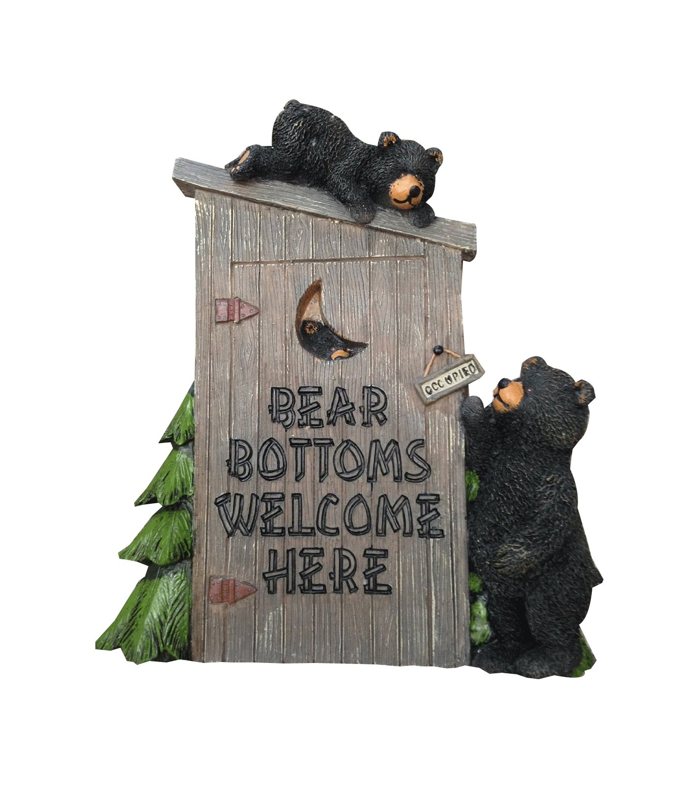 Poly Resin Decorative Wall Plaque ''Bear Bottoms Welcome'' for That Country Garden Home