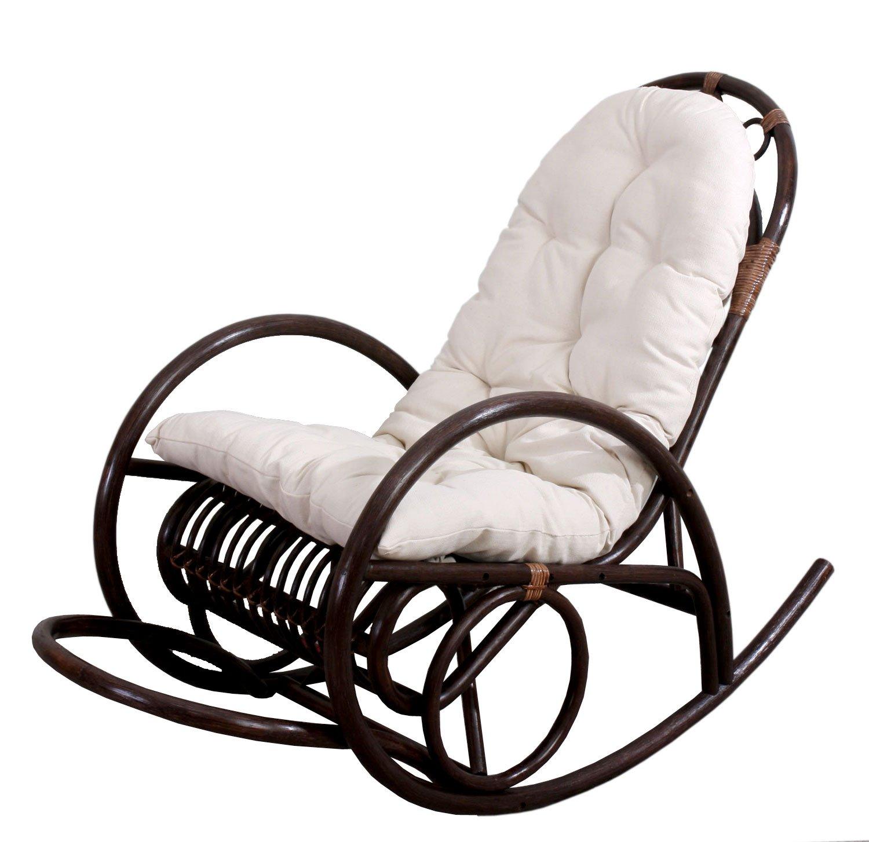 Sedia a dondolo Derby 139x58x110cm legno seduta poliestere cotone cuscino bianco Amazon Casa e cucina