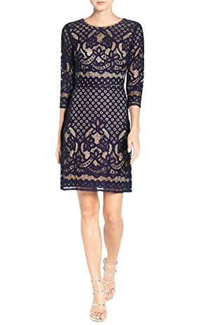 Gabby Skye Women's Elbow Sleeve Lace Sheath Dress - Party Dress (12, Navy/Nude)
