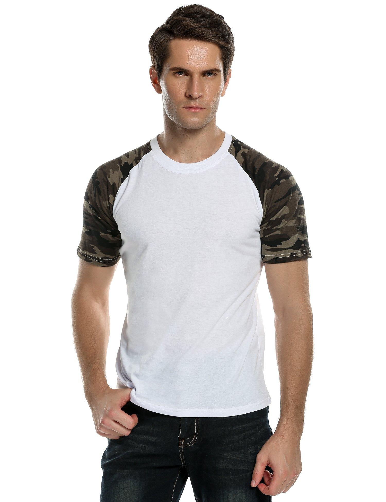 COOFANDY Mens Slim Fit Baseball Tee Short Sleeve Camo Printed Raglan t  Shirt product image ec5a13c4d40